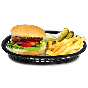 Chicago Oval Platter Basket Black 27x18x4cm