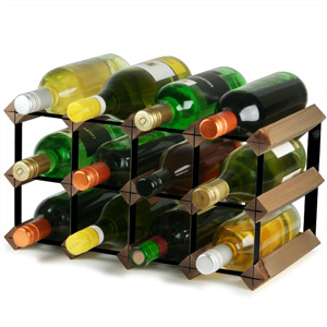 Traditional Wooden Wine Rack - Dark Oak and Black Steel