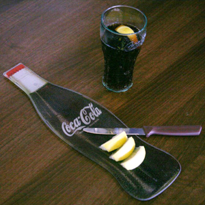 Coca Cola Glass Chopping Board & Knife Set