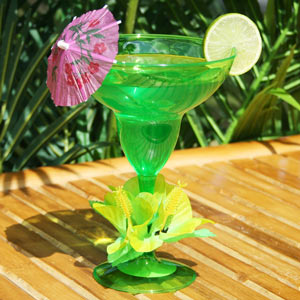 Floral Paradise Lime Green Margarita Glass 12.5oz / 355ml