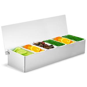 Condiment Dispenser 6 Compartment Chrome