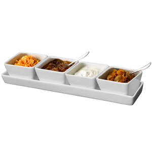 Royal Genware Rectangular Tray & Deep Square Dishes