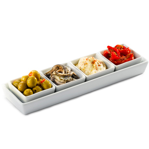 Royal Genware Rectangular Tray & Shallow Square Dishes