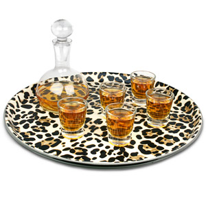 Leopard Print Round Tray 14inch