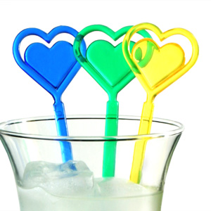 Double Heart Cocktail Stirrers