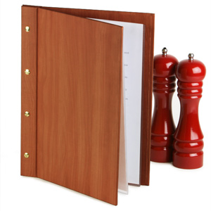 Wood Effect Menu Cover A4 Cherry Wood
