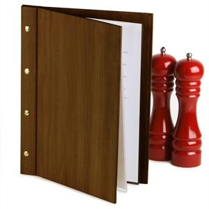Wood Effect Menu Cover A4 Mahogany