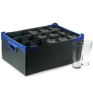 Stacking Pint Glass Storage Boxes 15 Large Compartment