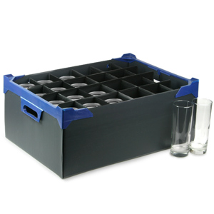Stacking Half Pint and Hiball Glass Storage Boxes 24 Medium Compartment