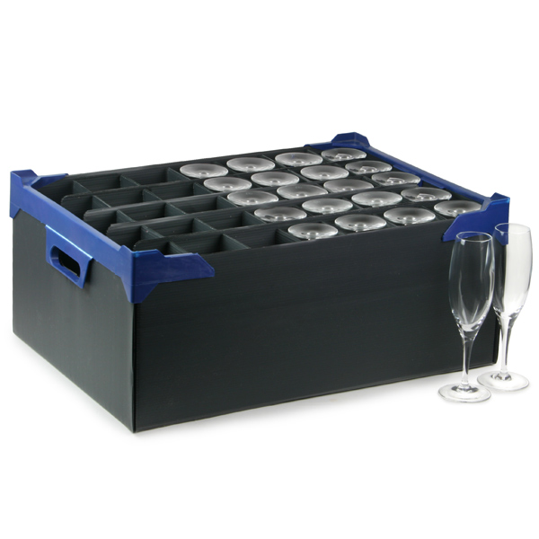 Stacking Champagne Glass Storage Boxes 35 Small Compartment Glassware Storage Box Glass Storage Crate Buy At Drinkstuff