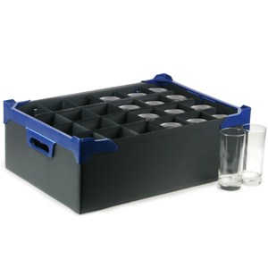 Stacking Half Pint and Hiball Glass Storage Boxes 24 Small Compartment