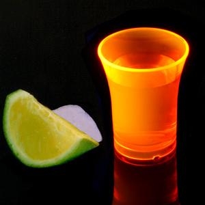 Econ Neon Orange Polystyrene Shot Glasses CE 0.9oz / 25ml