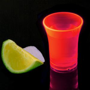 Econ Neon Red Polystyrene Shot Glasses CE 0.9oz / 25ml