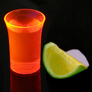 Econ Neon Orange Polystyrene Shot Glasses CE 1.25oz / 35ml