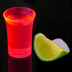 Econ Neon Red Polystyrene Shot Glasses CE 1.25oz / 35ml