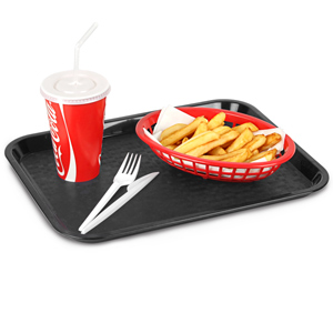 Fast Food Tray Small Black 10 x 14inch