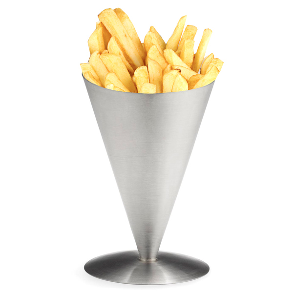 Stainless steel appetizer cone chip basket server