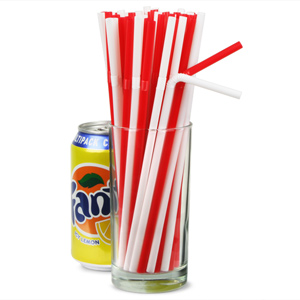 Bendy Drinking Straws 8.5inch Red & White