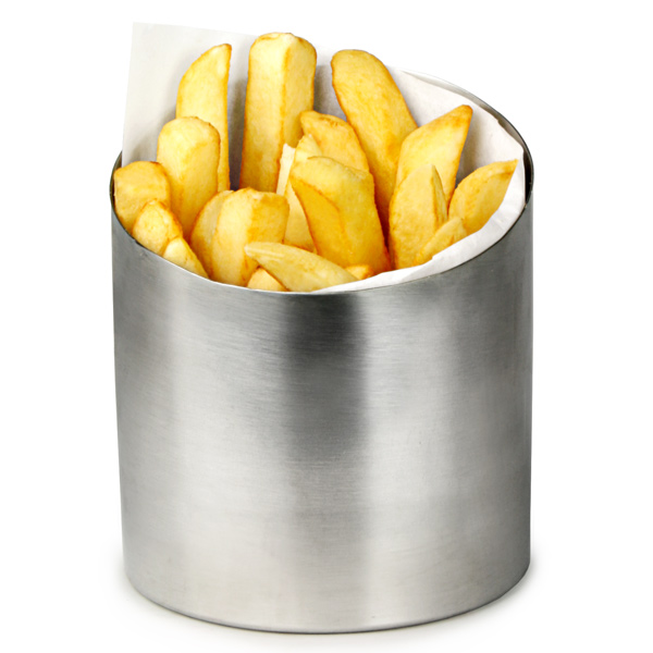 Stainless steel appetizer cup chip basket server