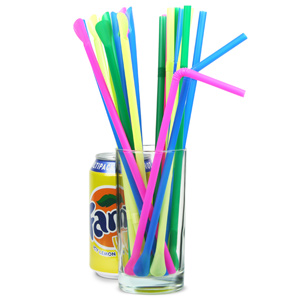 Bendy Spoon Straws 9.5inch Multi Colour