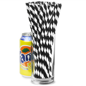 Monochrome Magic Black & White Striped Paper Straws 8inch