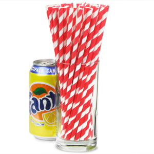 Red & White Striped Paper Straws 8inch