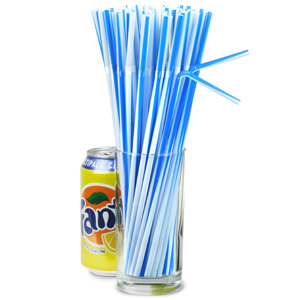 Striped Bendy Straws 9.5inch Blue & White