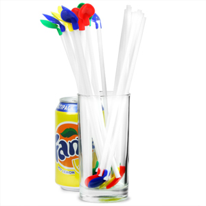 Plastic Spoon Straws 8.5inch White