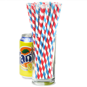 Village Fete Blue & Red Striped Paper Straws 8inch