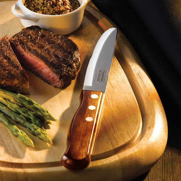 Tramontina Jumbo Steak Knives Rounded Blade Pine x 12Serrated Knives
