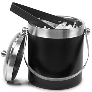 Black Enamel Ice Bucket with Tongs