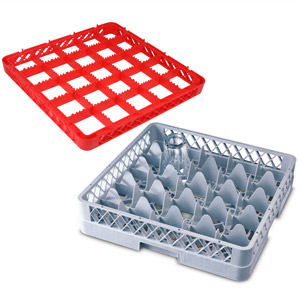 25 Compartment Glass Rack with 3 Extenders
