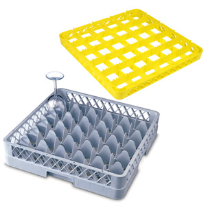 36 Compartment Glass Rack with 2 Extenders