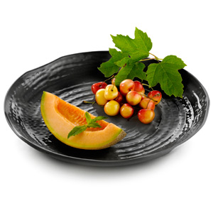Pebbled Pattern Melamine Tray Black 14inch