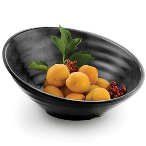 Sloped Melamine Serving Bowl Black 14inch