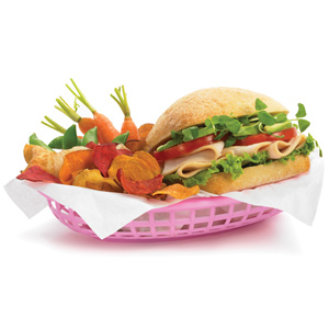 Classic Oval Food Basket Pink 24x15x5cm