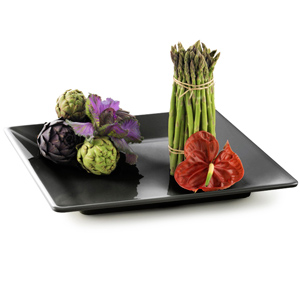 Square Melamine Serving Tray Black 14inch