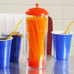 Cannucce Plastic Straw Dispenser Orange