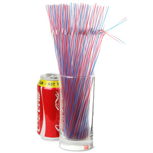 Striped Bendy Straws 9.5inch Red & Blue