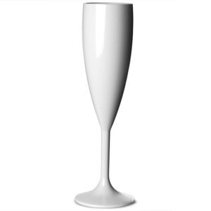 Elite Premium Polycarbonate Champagne Flute White 7oz / 200ml
