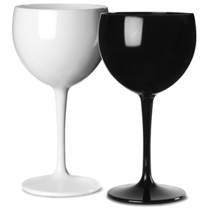 Polycarbonate Balloon Wine Glasses Black & White Set 12.3oz / 350ml