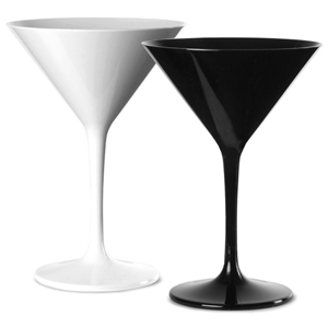 Polycarbonate Martini Glasses Black & White Set 7oz / 200ml