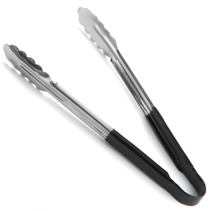 Colour Coded Stainless Steel Tongs 12inch Black