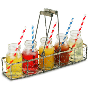 Parlane Wire Basket with 5 Bottles