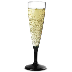 Plastic Champagne Flutes Black 4.4oz / 125ml
