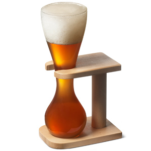 Glass Quarter Yard of Ale with Stand
