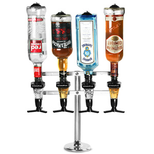 Fixed Base 4 Bottle Pillar Stand Pillar Stand With 25ml Spirit Measures