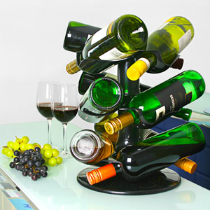 Rotatable 9 Bottle Wine Rack