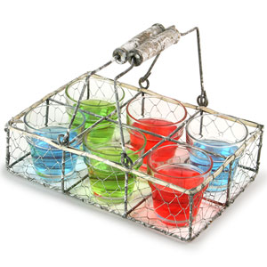 Parlane Wire Basket with 6 Shot Glasses