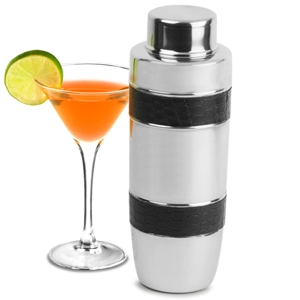 Stainless Steel Cocktail Shaker with Black Bands